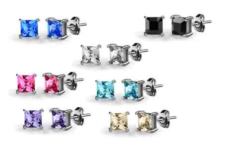 Vivid Jewels - Seven pairs of square stud earrings made with Swarovski Elements - Save 93%