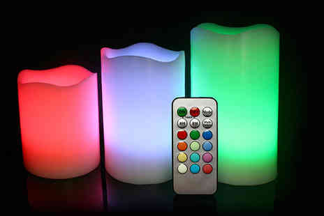 SA Products - Three vanilla scented colour changing LED candles  - Save 80%