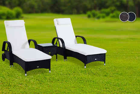 Mhstar Uk -  Three piece rattan furniture set including two sun loungers and a table   - Save 50%