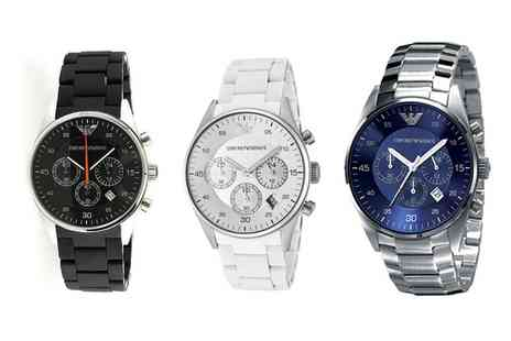 Outlet Perfumes - Emporio Armani Watch in Choice of Style With Free Delivery - Save 55%