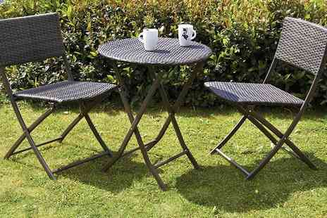 Amir - RoyalCraft three piece bistro garden set including two chairs and a table - Save 50%