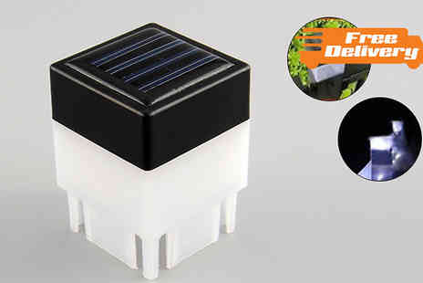 Last Chance Supplies - Pair of LED Solar Fence Post Cap Lights - Save 54%