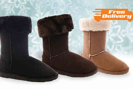 Solewish - Faux Suede Womens Winter Boots in 3 Colours - Save 70%