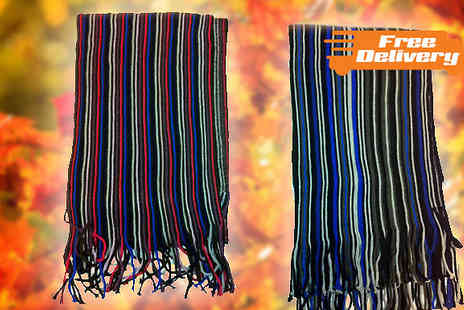 HomeStore Direct - Mens Multi Striped Fringed Scarf Available In Two Designs - Save 30%