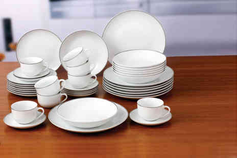 Dinner Warehouse -  40 piece porcelain dinner set with a gold or platinum  coloured band - Save 60%