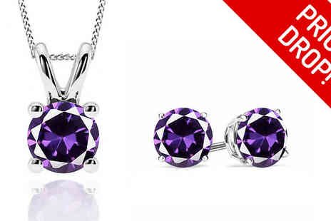 Jewellery Bank - 1ct Amethyst Sterling Silver Earrings, Necklace or Full Set - Save 81%