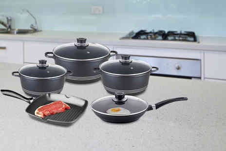 SQ Professional - Nine piece Nea die cast non stick cookware set - Save 61%
