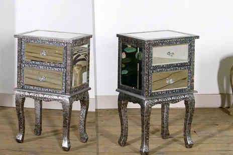 Dusx -  Chaandhi Kar embossed mirrored bedside cabinet -  Save 61%