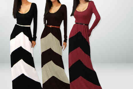 Eden Wear - Long sleeved chevron maxi dress with a skinny belt - Save 57%