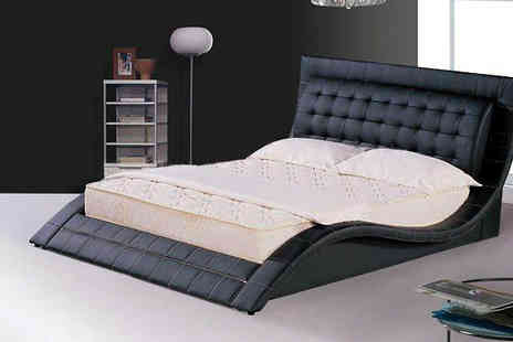 Sale Beds - Andorra Faux Leather Bed in 2 Sizes - Save 66%