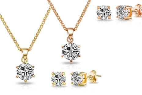 Vivid Jewels - Solitaire necklace and earring set made with Swarovski Elements - Save 87%