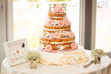 The Cake Stand - Three Tier Naked Sponge Wedding Cake with Sugar Roses, Birds and Strings of Pearls  - Save 0%