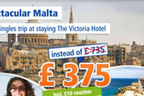 The Victoria Hotel - Singles summer holiday in Malta for 6 days - Save 49%