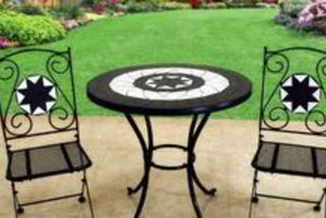 Royal Craft - Rimini 60cm Bistro Set, including a mosaic topped table and two folding aluminium chairs in black or brown - Save 45%