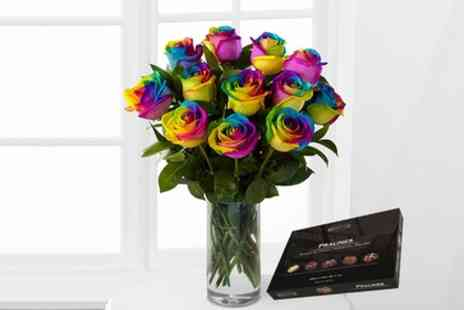 Flowers Delivery 4 U - Rainbow Roses and Chocolates 6 Flower or 12 Flower Bouquet - Save 49%