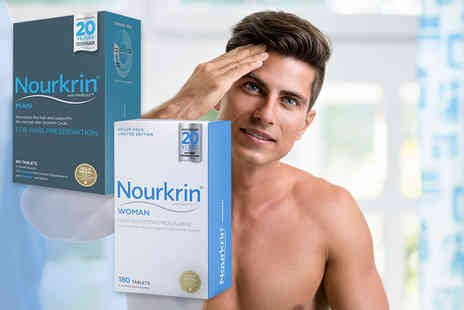 NHL Pharmacy - Three month supply of mens or womens Nourkrin hair growth tablets - Save 60%