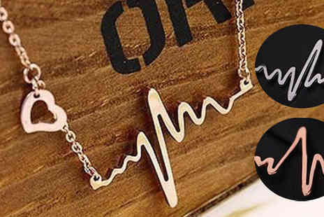 Gagala - 14K Gold-Plated Heartbeat Necklace  Available in Three Colours - Save 0%