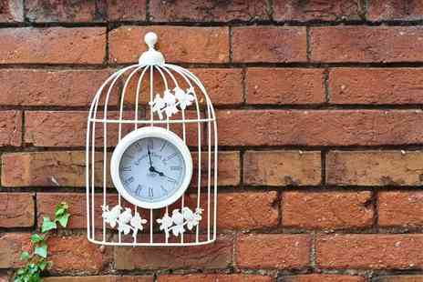Funky Buys - White antique style metal birdcage wall clock - Save 60%