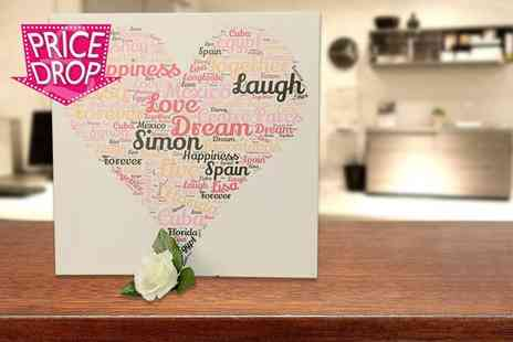 "Your Perfect Canvas -  20"" x 20"" personalised word art canvas - Save 75%"