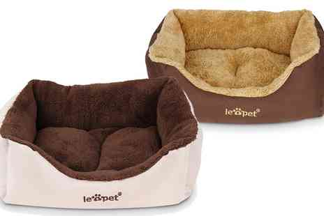 Groupon Goods Global GmbH - Soft and Comfortable Warm Fleece Lines Rectangular Pet Bed with Supportive Wall - Save 0%