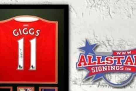 All Star Signings - Framed and Signed Ryan Giggs Shirt With Certificate of Authenticity - Save 60%