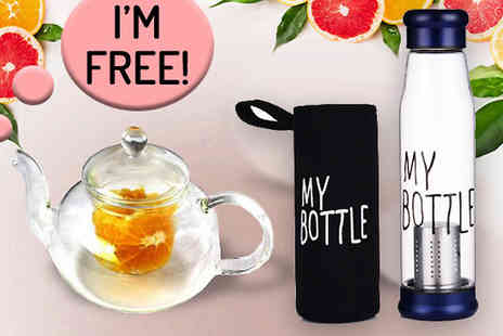 Bing bang bosh - My Bottle Fruit Infused Glass Water Bottle And FREE Teapot - Save 55%