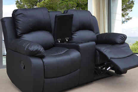Furniture Instore - Two seater faux leather sofa with a central cup holder console and built in storage area - Save 56%