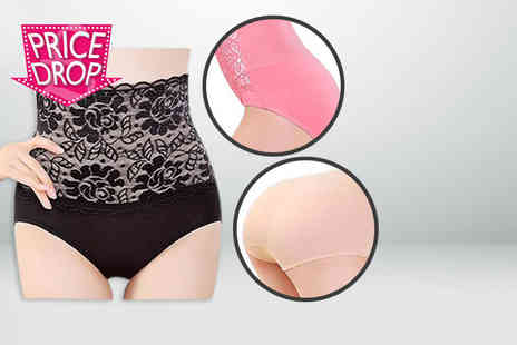 Fizzy Peach - Pack of three lace topped high-waisted control pant in black, beige and pink - Save 90%