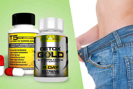 T5 Fat Burners - T5 Fat Burner and Detox Gold Capsules One or Two Month Supply - Save 66%
