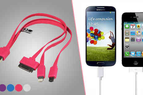 Tech Tronics - 3 in 1 Flat USB Cable in 5 Colours - Save 73%