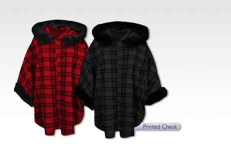 Stitch Trading - Womans checked faux fur trim hooded cape - Save 54%