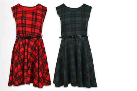 Stitch Trading - Tartan skater dress in a choice of two colours - Save 55%