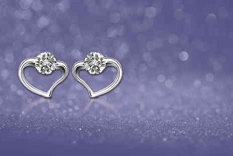 Van Amstel Diamond BV - Choice of white gold-plated heart earrings  - Save 78%