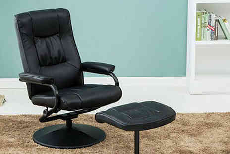 FTA Furnishing - Faux leather swivel office chair with a matching footstool - Save 48%