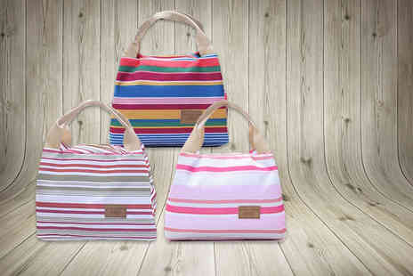 Fizzy Peach - Striped thermal lunch bag - Save 80%