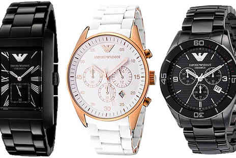 Designer Zone Watches - Mens Emporio Armani Ceramica Watches in 3 Designs - Save 13%