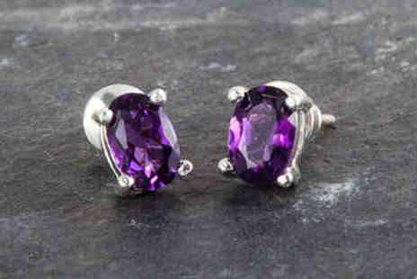 LivingSocial Shop - Sterling Silver Amethyst Stud Earrings - Save 87%