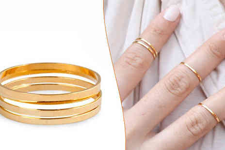Candy Chic - Set of 4 Gold Midi Rings - Save 80%