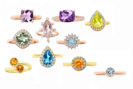 Rocks of London - Choice of 9ct yellow and rose gold rings with precious stones choose from Ten designs  - Save 52%