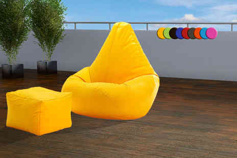 UK Beanbags - Outdoor highback beanbag with a matching footstool choose from nine bright colours - Save 72%