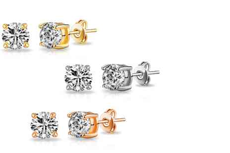 Vivid Jewels - Pack of three round earrings made with Swarovski elements - Save 92%