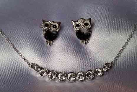 Fashion Sparkles 4U - Sparkling row necklace & owl earrings - Save 72%
