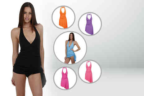 Bluebell Retail - A halterneck swim dress available in six colours - Save 67%