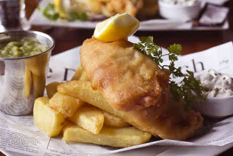 The Brasserie Fish and Grill - Fish and chips with homemade tartar sauce and mushy peas for two  - Save 65%