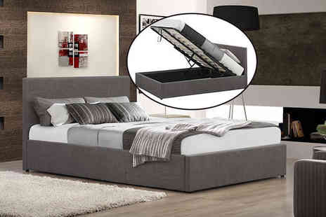 FTA Furnishing - Fabric ottoman storage bed, include a memory foam mattress choose from four sizes, two colours - Save 68%