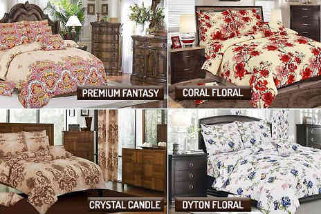 Rynz Collection - 200TC 4 Piece Egyptian Cotton Bedding Set in 10 Designs - Save 14%