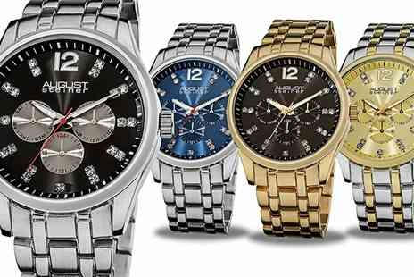 Groupon Goods Global GmbH - August Steiner Mens Crystal Multifunction Bracelet Watch With Free Delivery - Save 74%