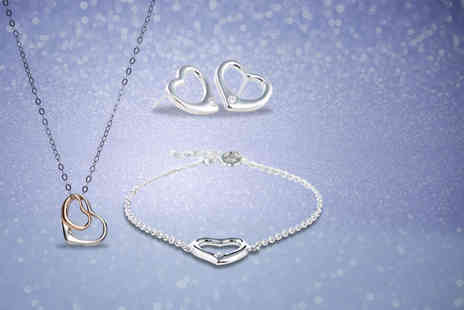Jewel Unique - 18ct white gold-plated open heart necklace, bracelet and earrings tri set - Save 93%