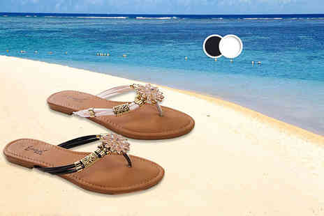 MY UL - Pair of flower diamante flip flops choose black or white - Save 67%