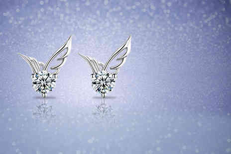Elle and Be - Pair of angel wing stud earrings made with Swarovski Elements - Save 87%